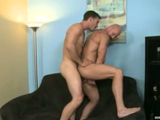 Bald muscle dilf bips stretched door vriend
