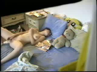 masturbating, big tits, spy