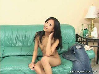 Magra sexy asiática gaja masturbation