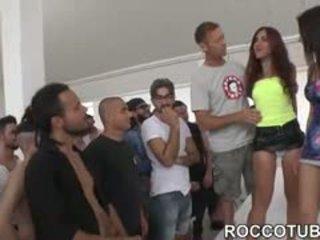 brunette, group sex, blowjob, babe, gangbang