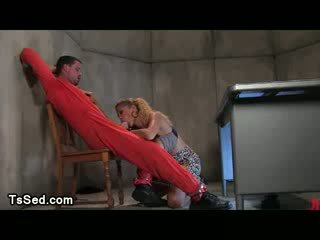 Transsexual fucks bdsm guy in interrogation cell from behind