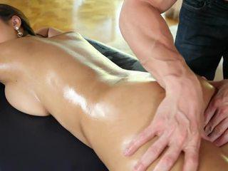 oil, natural tits, massage