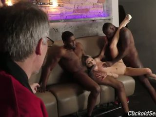 Young Wife does Cuckold 3sum for the Old Man - Porn Video 051