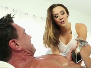 Wicked Pictures: Wild brunette whore giving hot massage and fuck.