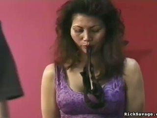 Seksi am germe tüysüz butchered