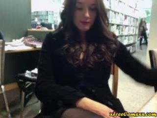 Big Titty Babe Masturbates In Public Library