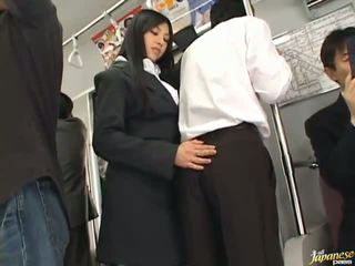 Saori hara ο ταϊλανδός/ή stunner gives ένα γλείψιμο σε ο subway