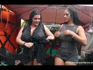 Angelina castro et manquer raquel chatte jouer en la pluie!
