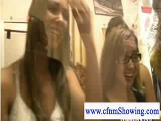 Cfnm girls enjoying a hj and bj show while shopping