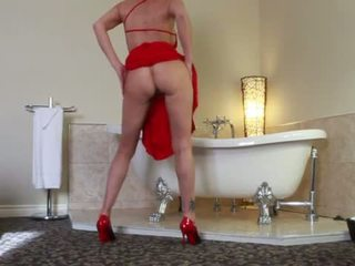 2016-03-26 Audrey, Hotel room in red long dress, Louboutin and Toy