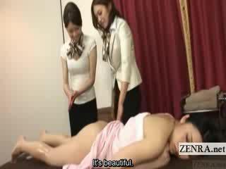 Subtitled japānieši lesbiete dibens eļļa masāža treniņš