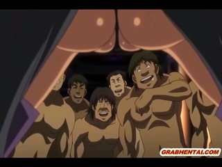 Hentai karaliene ar bigboobs brutally gangbang līdz bandits