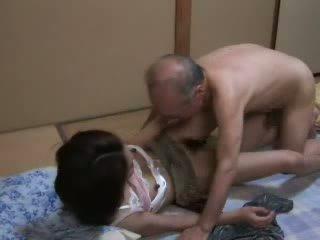 japanisch, tochter, opa