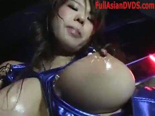 brunette, japanse, striptease