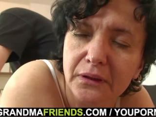Very Old Hairy Pussy Granny Swallows Two Cocks