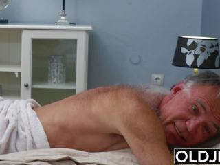 Blonde Teen Fucked by Hairy Old Man She Loves Getting