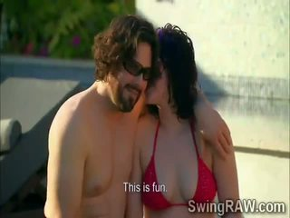 Swinger couples have party outdoors in Reality Show