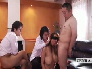 Subtitled geblinddoekt japans vrouw salacious groep seks