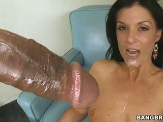 bruneta, sání, deepthroat