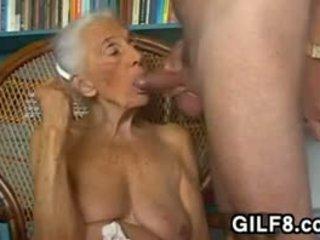 巨乳, おばあちゃん, フェラチオ
