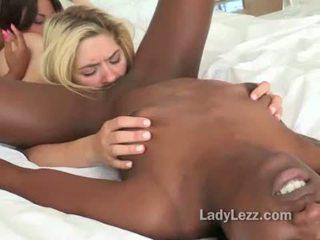 Interracial lesbian pussy licking wild threeway
