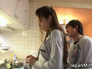japānas, virtuve, milf