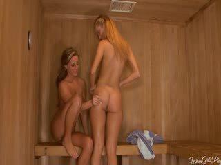 Lesbo vagina licking in the hot sauna