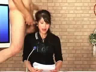 Blowjob chikan facial babe handjob cumshot asian business woman