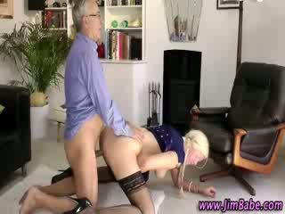 Older guy fucks hot euro stocking girl