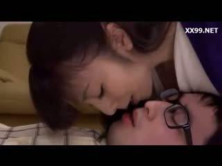 brunette, japanese, kyssing