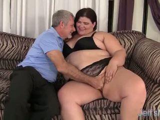 Chất béo đĩ juicy jazmynne cưỡi một chất béo con gà trống