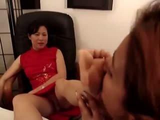 Asian Mistress Foot Worshiped at Offic...