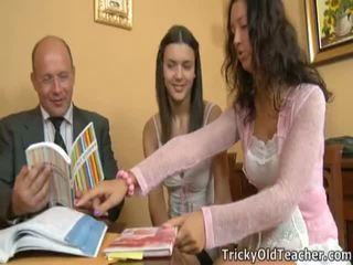 Immature Coeds Got Dissolute With Their Teacher.