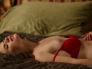 Hot Alice March banged in red lingerie