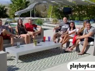 Group of couples swap partners and enjoying erotic game