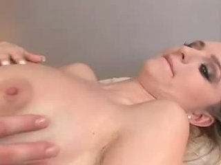 Busty pale blonde gives full body massage with cocksucking
