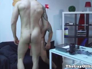Tattooed muscled colleagues suck and rim