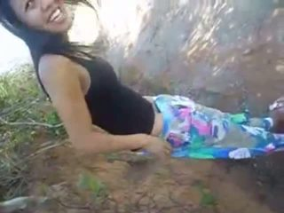 Shy girlfriend shows her pussy and sucks my dick outdoors