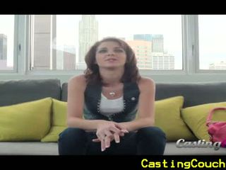 Casting couch x with small titted brunette