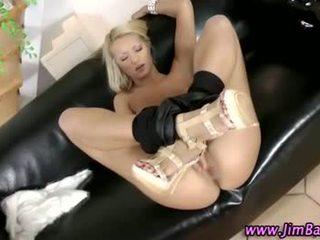 British amateur blonde sucks on cock