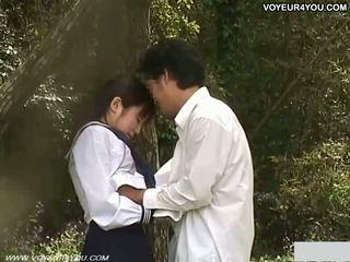 비탄 학교 소녀 옥외 정원 씨발