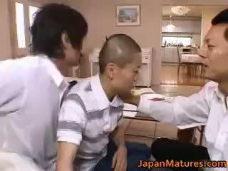brünette, japanisch, gruppen-sex
