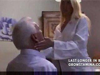 Lovely blonde fucks old man