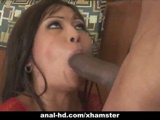 Caliente asiática zorra en trío con anal y double penetration