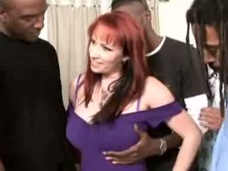 Mature redhead fucking with several cocks