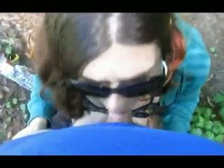 Amateur couple outdoors blowjob