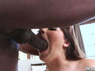 bruneta, orální sex, deepthroat
