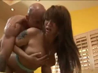 Busty asian redhead babe gets her shaved cooter drilled