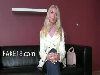 Babeage woman enjoying fake agent tongue