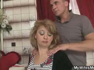 Mother-in-law jumps at his big cock as his wife leaves